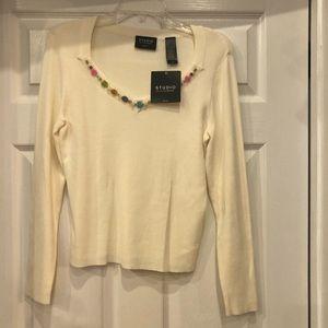 New Studio Liz Claiborne sweater beaded neck SP